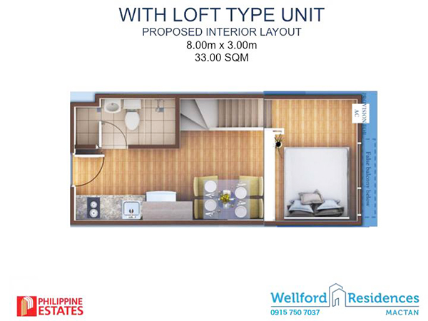studio with loft type unit floor lay out