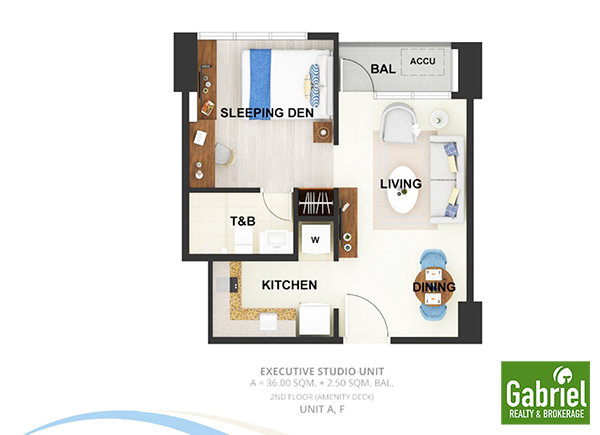 EXECUTIVE STUDIO WITH BALCONY floor plan
