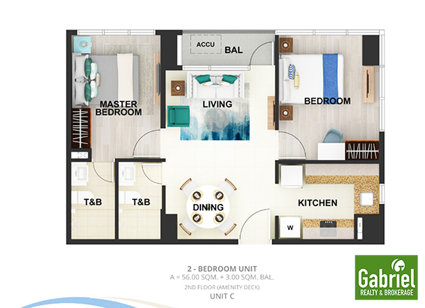 2 bedroom floor lay out