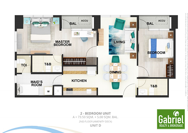 2-bedroom lay out in the pearl global residences