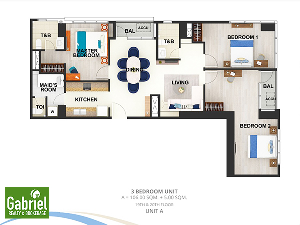 3 bedroom lay out in mactan newtown