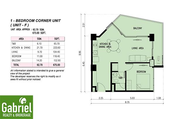 1-bedroom corner unit floor plan