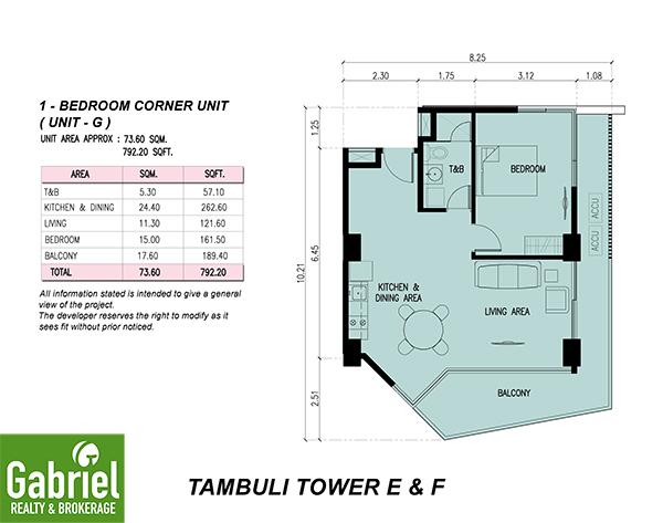 1 bedroom floor plan in tambuli
