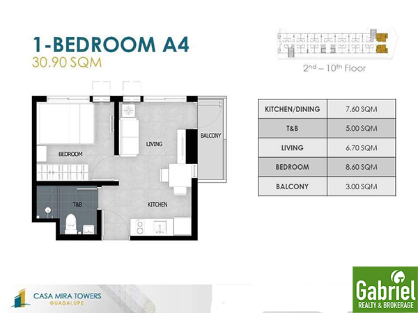 1 Bedroom floor plan - casa mira towers guadalupe