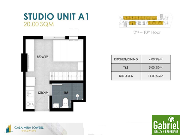 studio floor plan of casa mira towers guadalupe