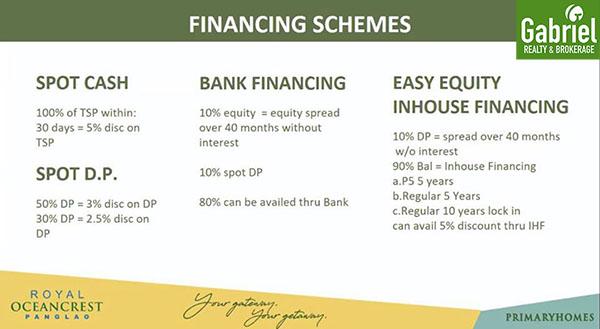 financing options in royal oceancrest bohol