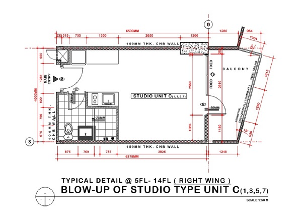 studio with balcony unit floor plan