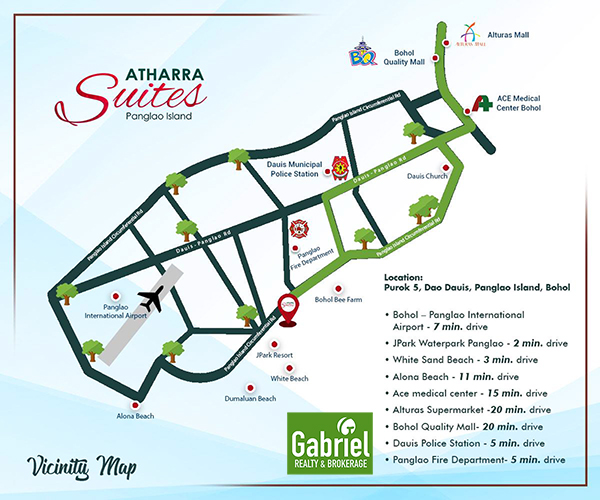 vicinity map of athrra suites panglao, bohol