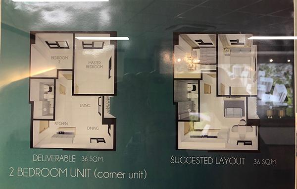 2 bedroom floor plan, acropolis residences cebu