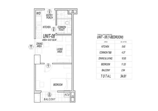 1 bedroom floor plan - le mende residences