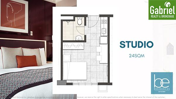 studio floor plan of be residences uptown