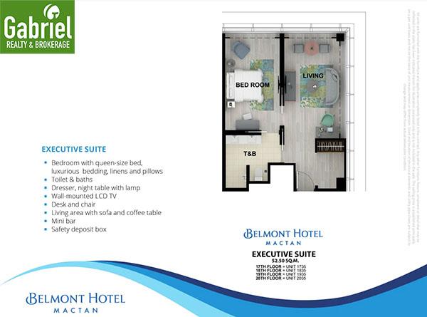 floor plan of executive suites in belmont hotel