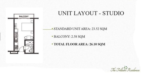 studio condominium floor layout in trillium residences