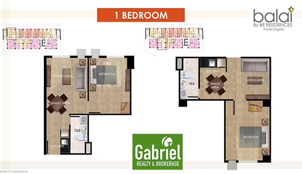 1 bedroom floor plan in balai by be residences