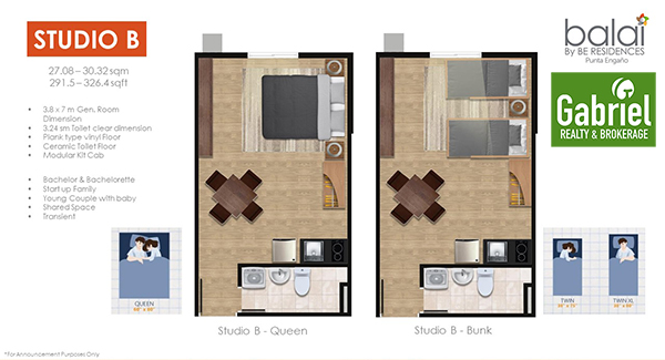 studio floor lay out in balai by be residences