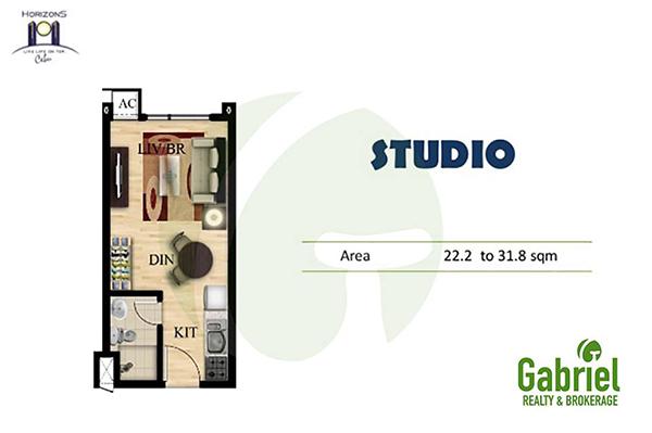 studio unit floor plan in horizons 101