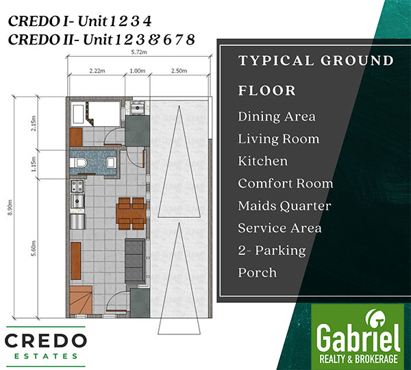 floor plan of the townhouses in credo estates mactan