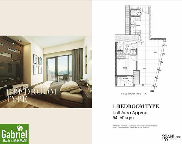 1 bedroom floor plan, 38 park avenue