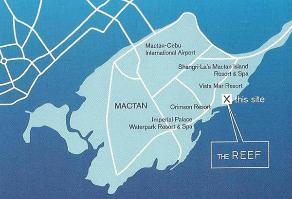 vicinity map of the reef mactan, condotel for sale in cebu