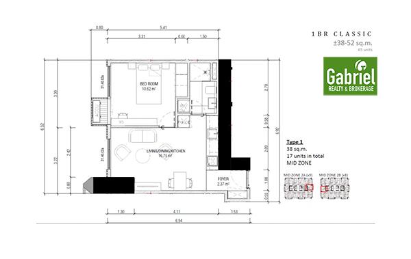 1 Bedroom floor plan, lucima residences