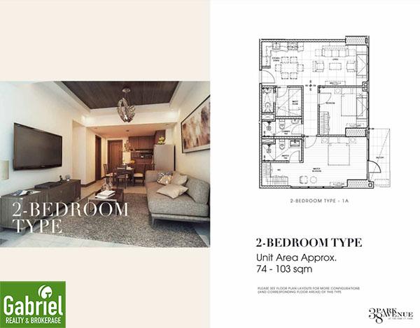 2 bedroom floor plan, 38 park avenue