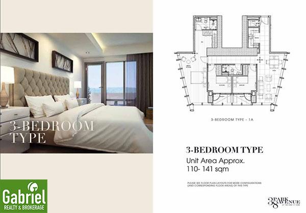 3 bedroom floor plan, 38 park avenue