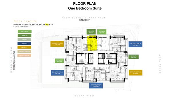 1 bedroom suite floor plan, lucima cebu