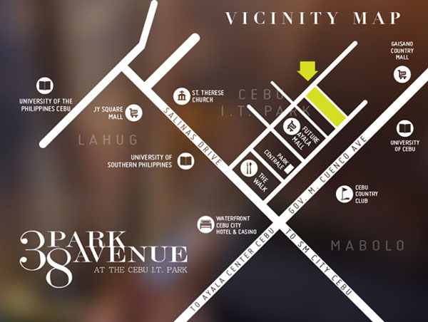 vicinity map of 38 park avenue in cebu it park