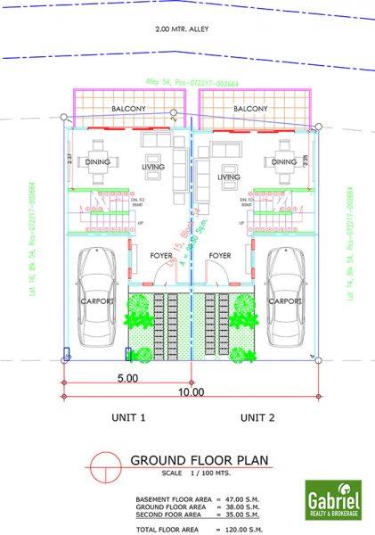 duplex ground floor plan, amirra residences busay