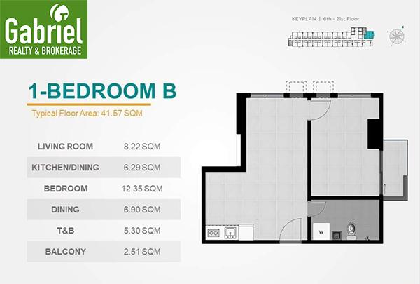 1 bedroom floor plan, casa mira towers guadalupe
