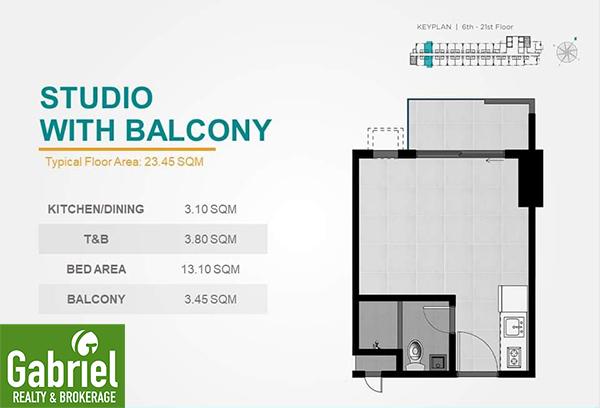 studio with balcony floor plan, casa mira guadalupe