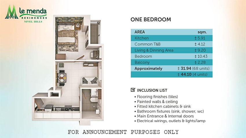 1 bedroom floor plan, le mende residences