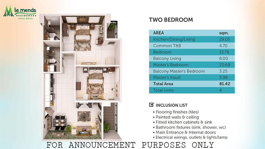 2 bedroom floor plan, le mende residences