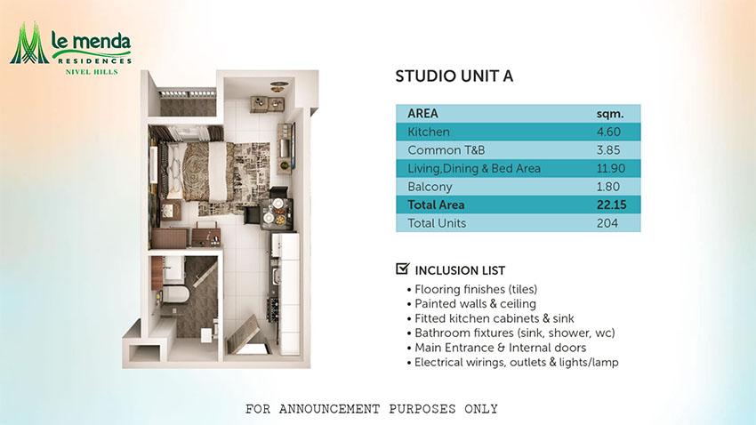 studio w/ balcony floor plan, le mende residences