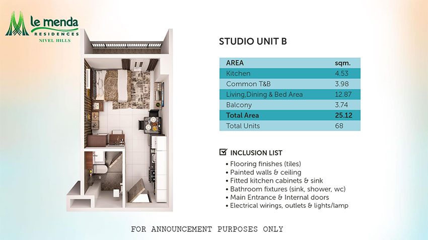 studio with balcony floor plan, le mende residences